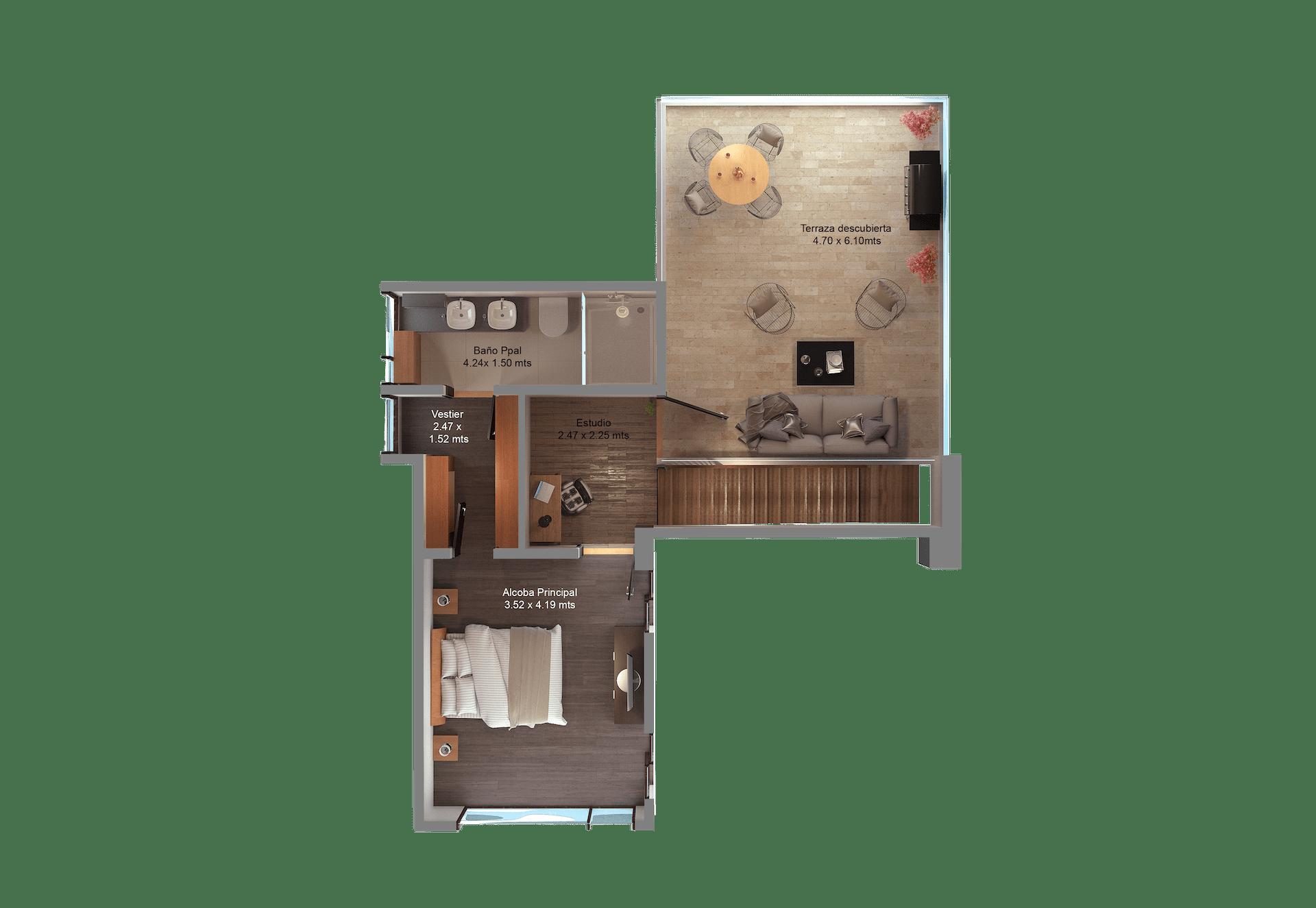 Apartamento tipo E piso 2 nombres-min